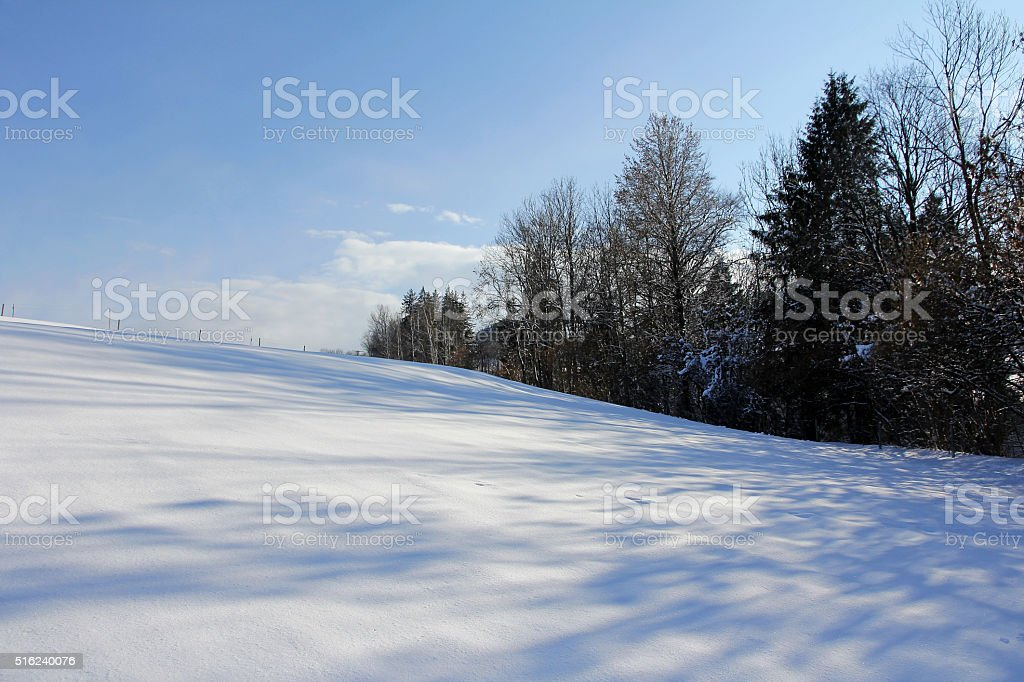Snowy meadows and fields stock photo