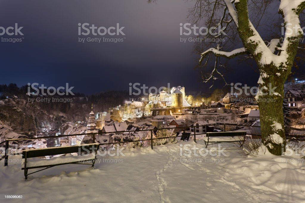 Snowy Monschau At Night stock photo