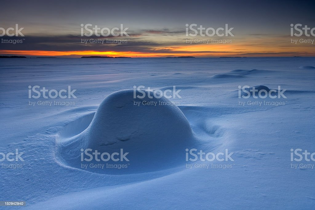 Snowy morning in the beach of Helsiniki, finland royalty-free stock photo
