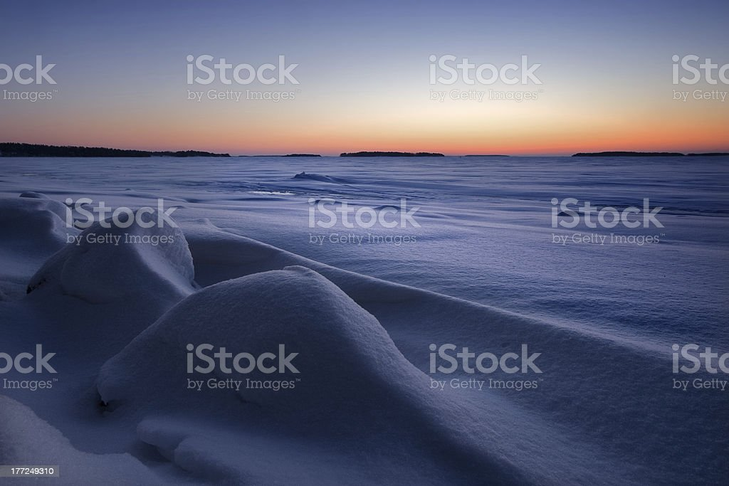 Snowy mounds in the beach royalty-free stock photo