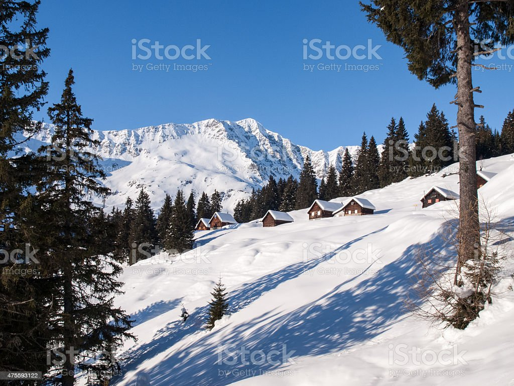 Snowy mountain chalet in wood stock photo