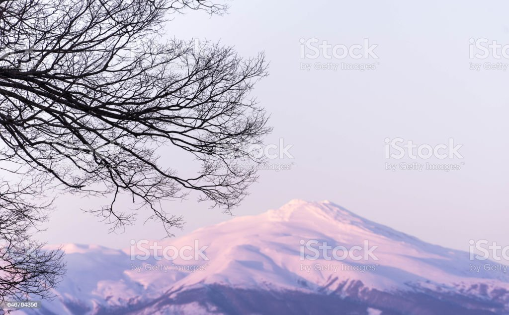 Snowy Mountain During Sunset stock photo