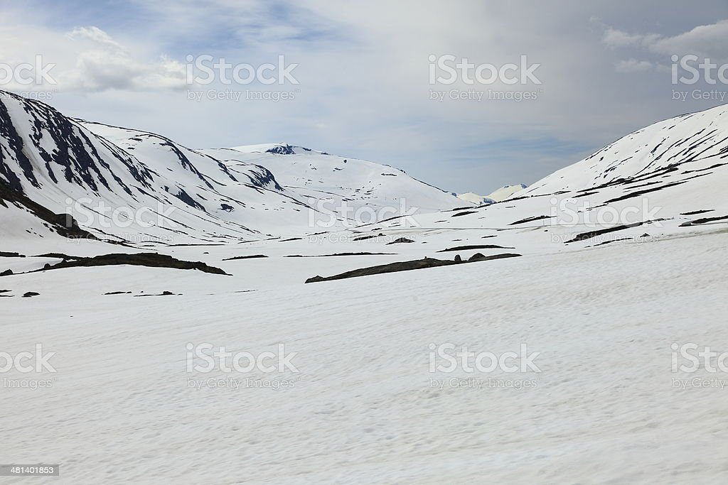 Snowy mountain landscape on a winter day near Geiranger, Norway stock photo
