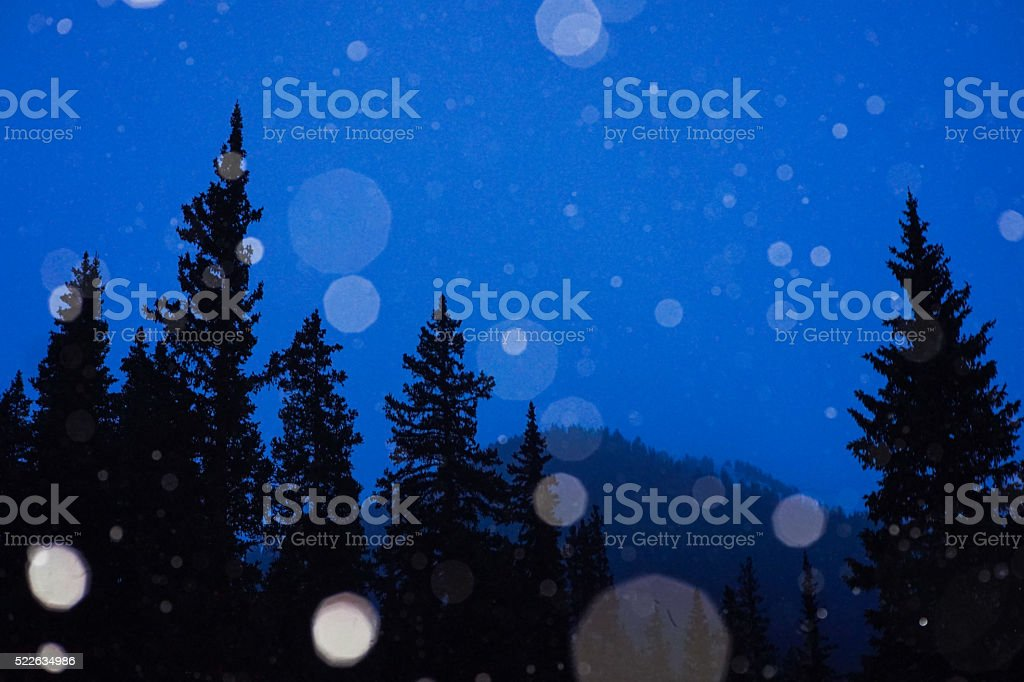 Snowy Mountain Night stock photo