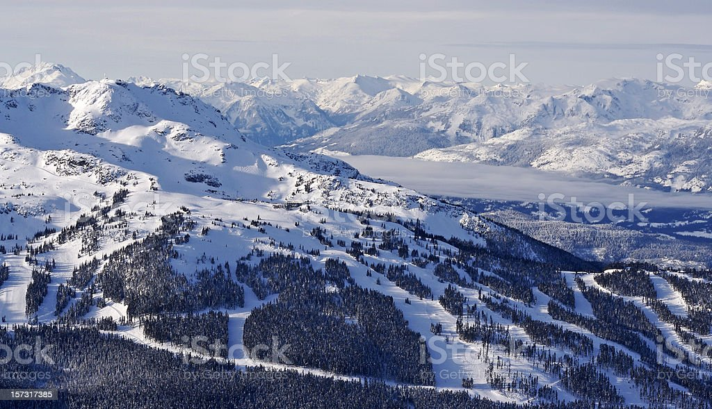 Snowy mountain peaks and valley scene stock photo