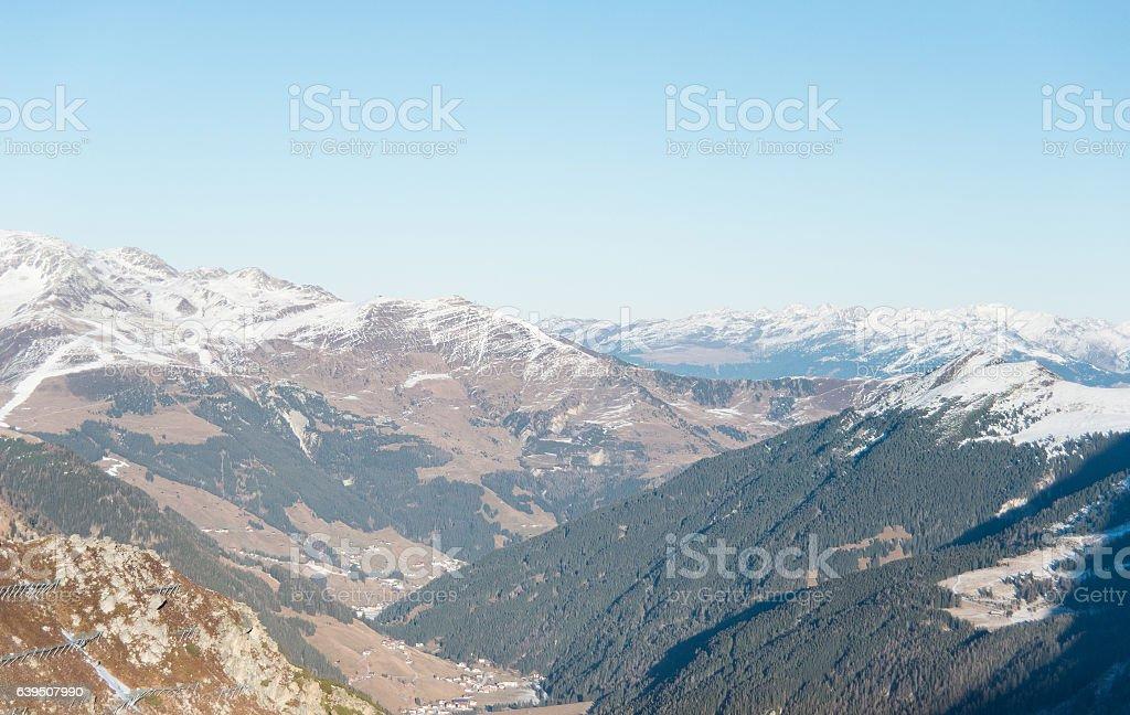 snowy mountain peaks at zillertal stock photo