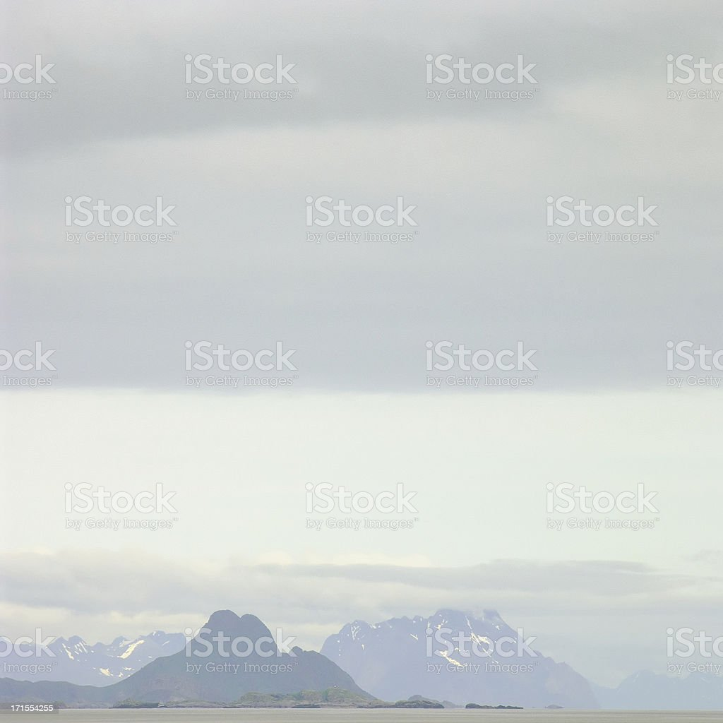 Snowy Mountain Peaks in Norway royalty-free stock photo
