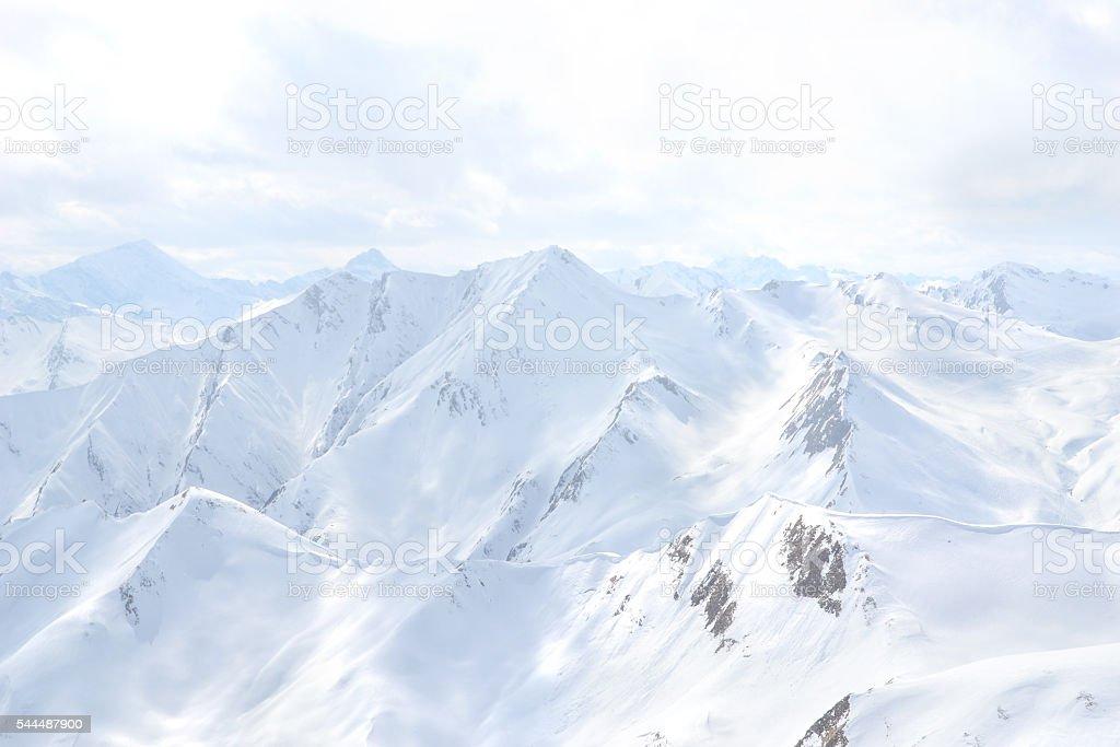 snowy mountain peaks in serfaus austria stock photo