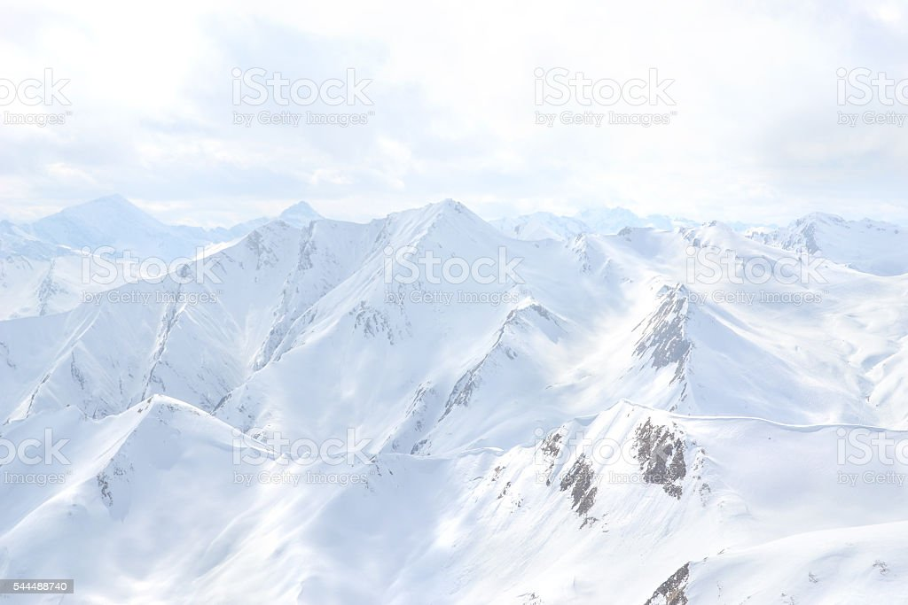 snowy mountain peaks in serfaus full frame close-up stock photo