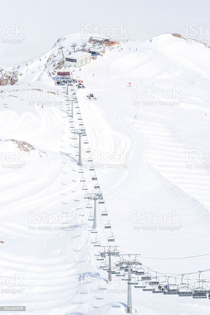 snowy mountain peaks in serfaus stock photo