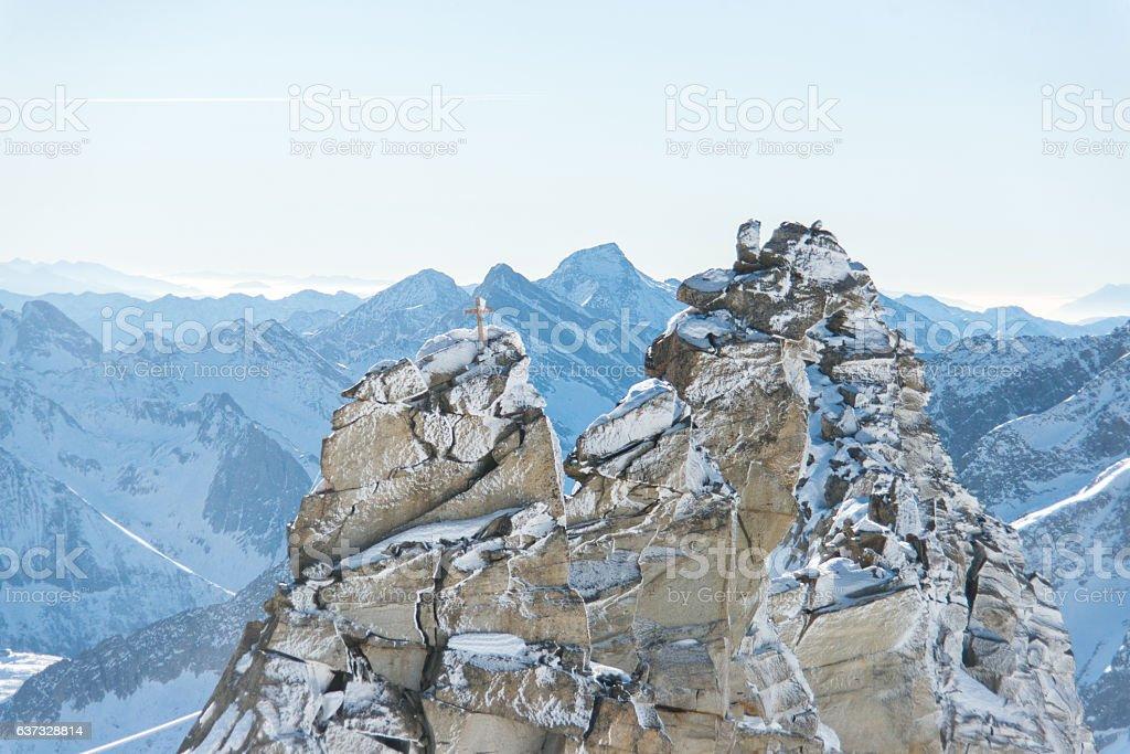 snowy mountain peaks on glacier hintertux at zillertal stock photo