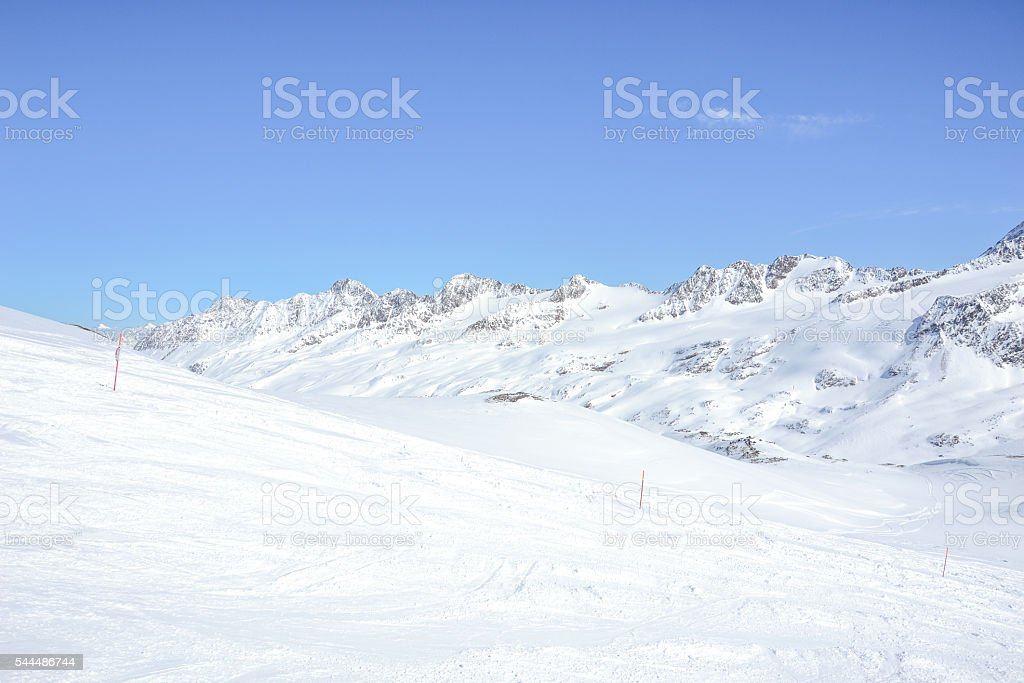 snowy mountain peaks on glacier Schnalstal stock photo
