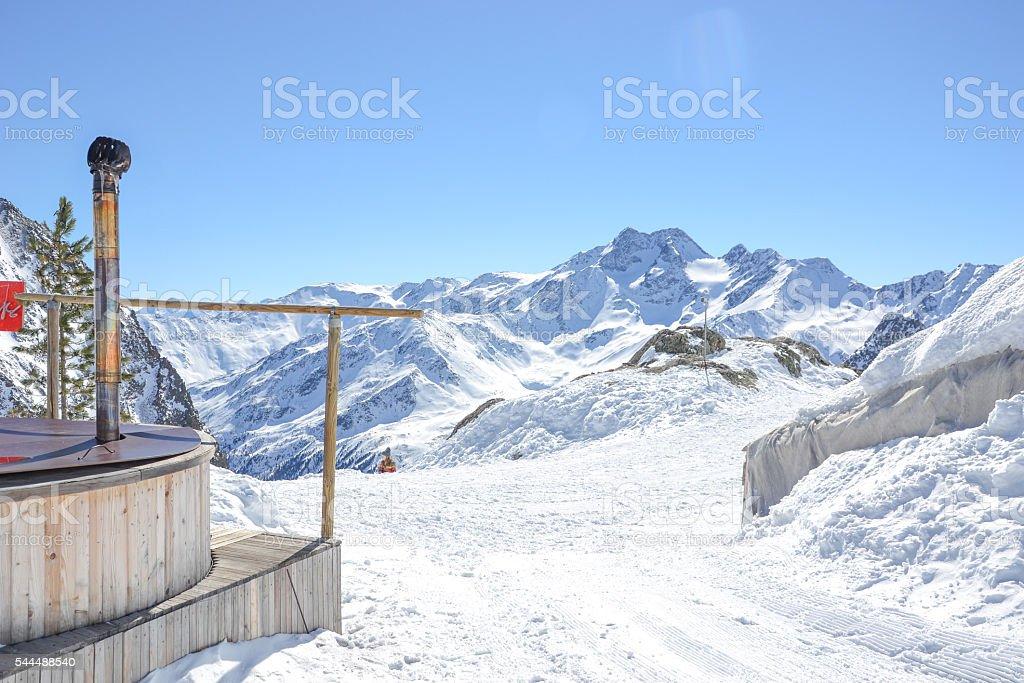 snowy mountain peaks on glacier schnalstal stock photo