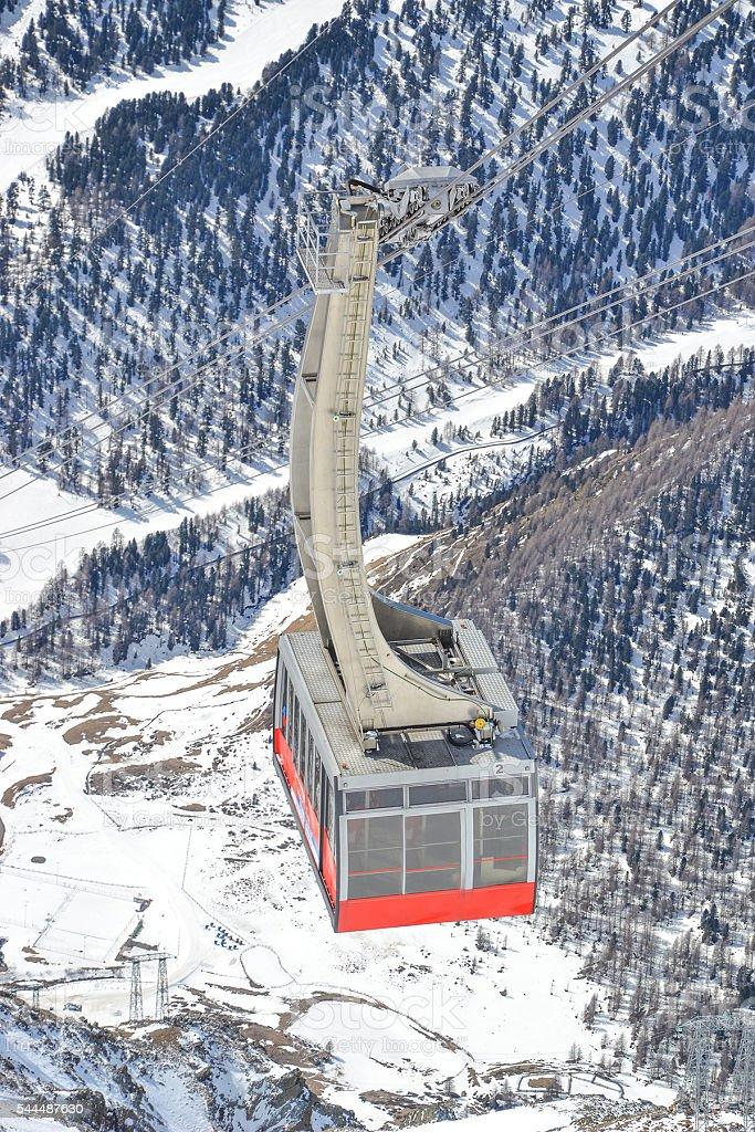 snowy mountain peaks on glacier Schnalstal with gondola stock photo