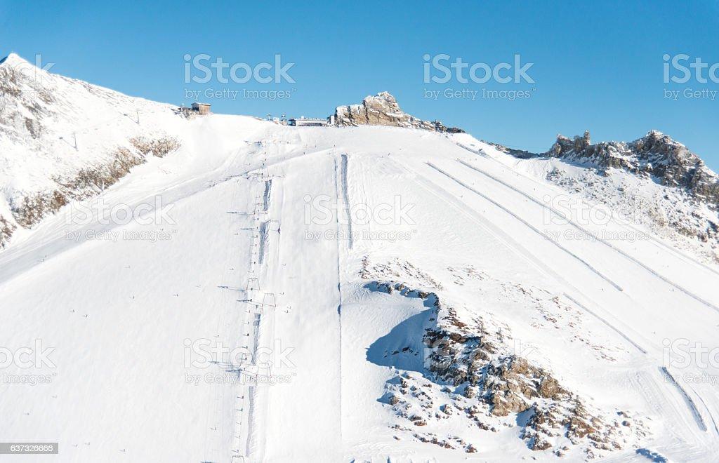 snowy mountain peaks on hintertux at zillertal stock photo