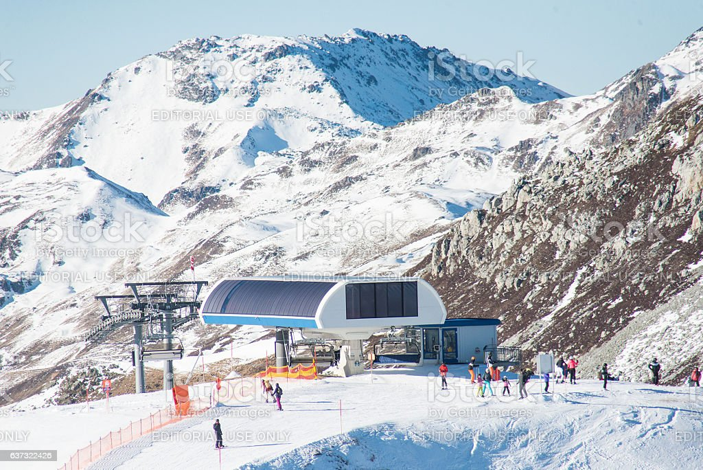snowy mountain peaks on hintertux at zillertal with lift stock photo