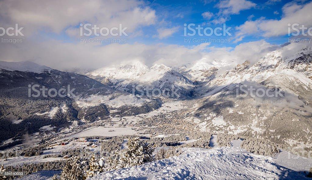Snowy mountain range in Bormio, Italy stock photo