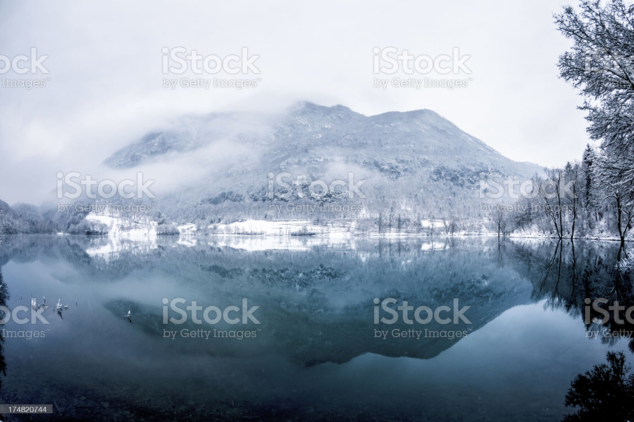 Snowy Mountain Reflections on the Lake, Winter Landscape royalty-free stock photo