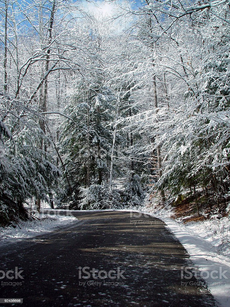 Snowy Mountain Road royalty-free stock photo