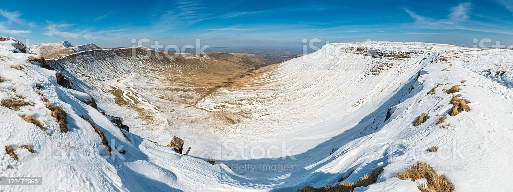 Snowy mountain summits of Brecon Beacons National Park Wales stock photo