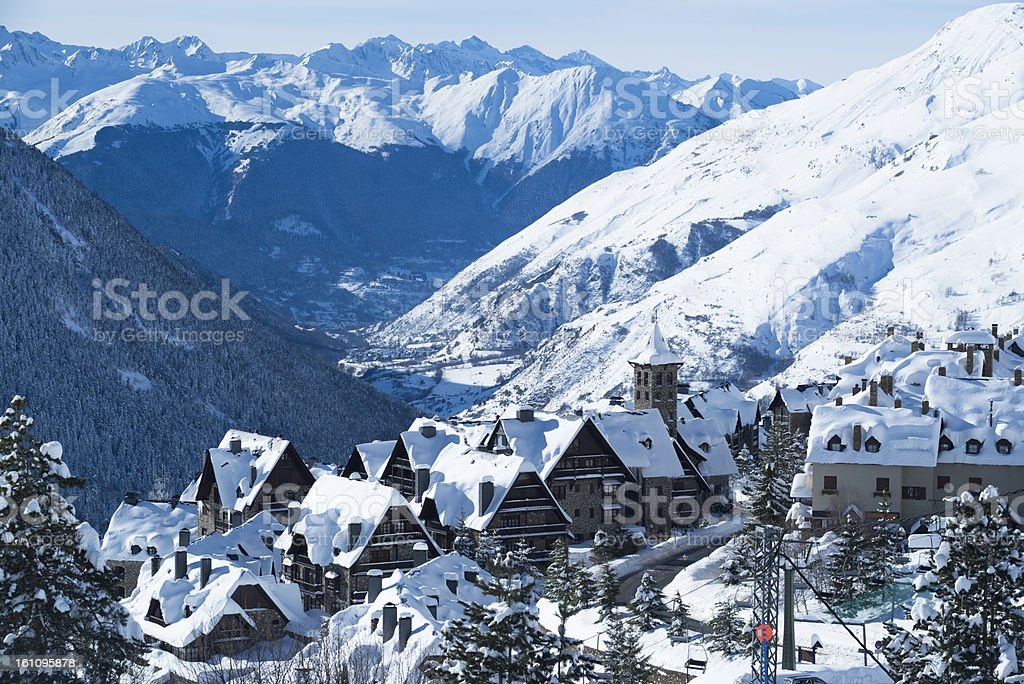 Snowy mountain village landscape stock photo