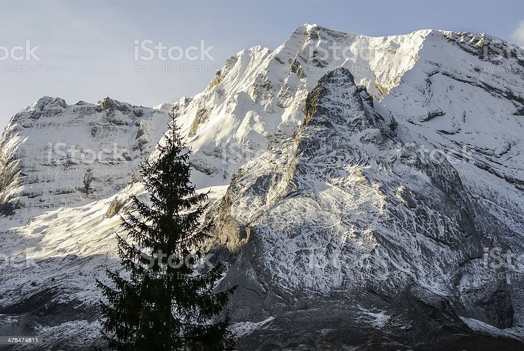 Snowy mountains and rocks at Gourette in the Pyrenees, France stock photo