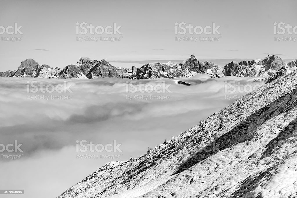Snowy mountains at sun day stock photo