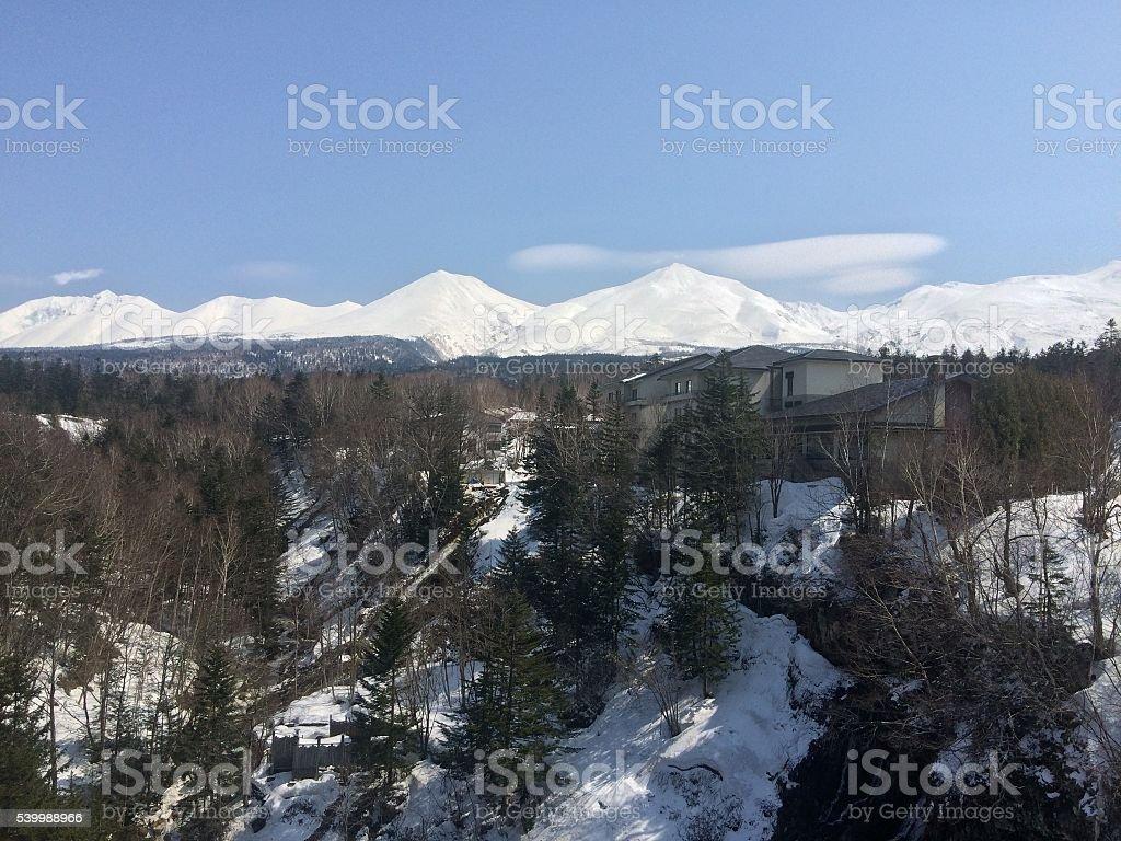 Montanhas NevadasComment de Hokkaido, Japão foto de stock royalty-free