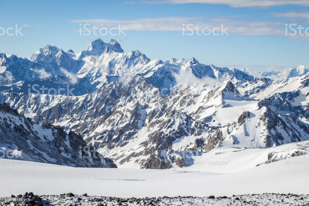 Snowy mountains in the morning. Greater Caucasus Range. Georgia. stock photo