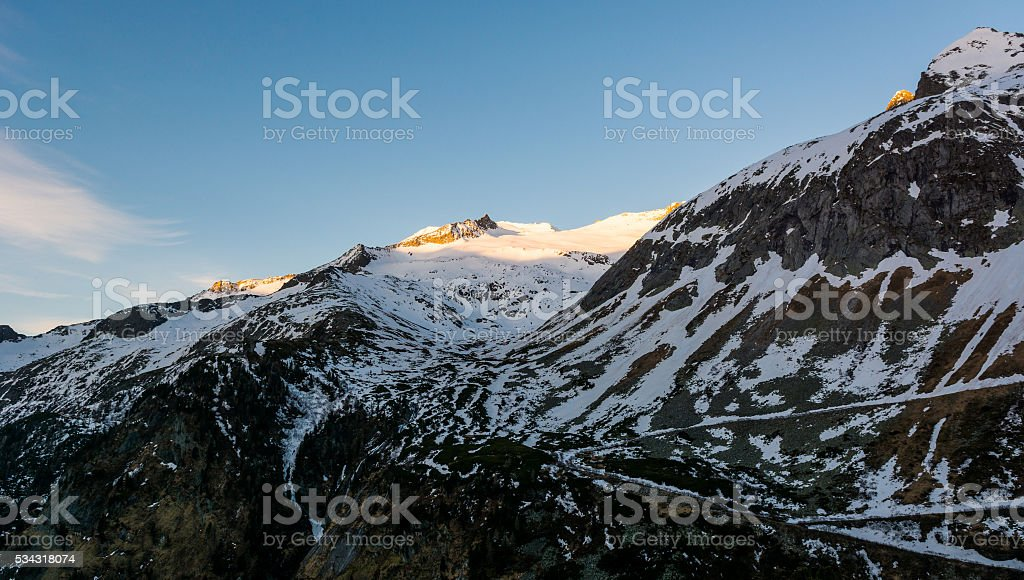 Snowy mountains in the morning. stock photo