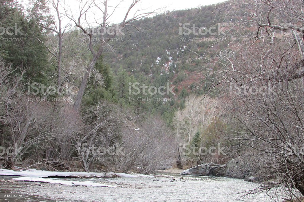 Snowy Mountains of Colorado in Early Spring. stock photo