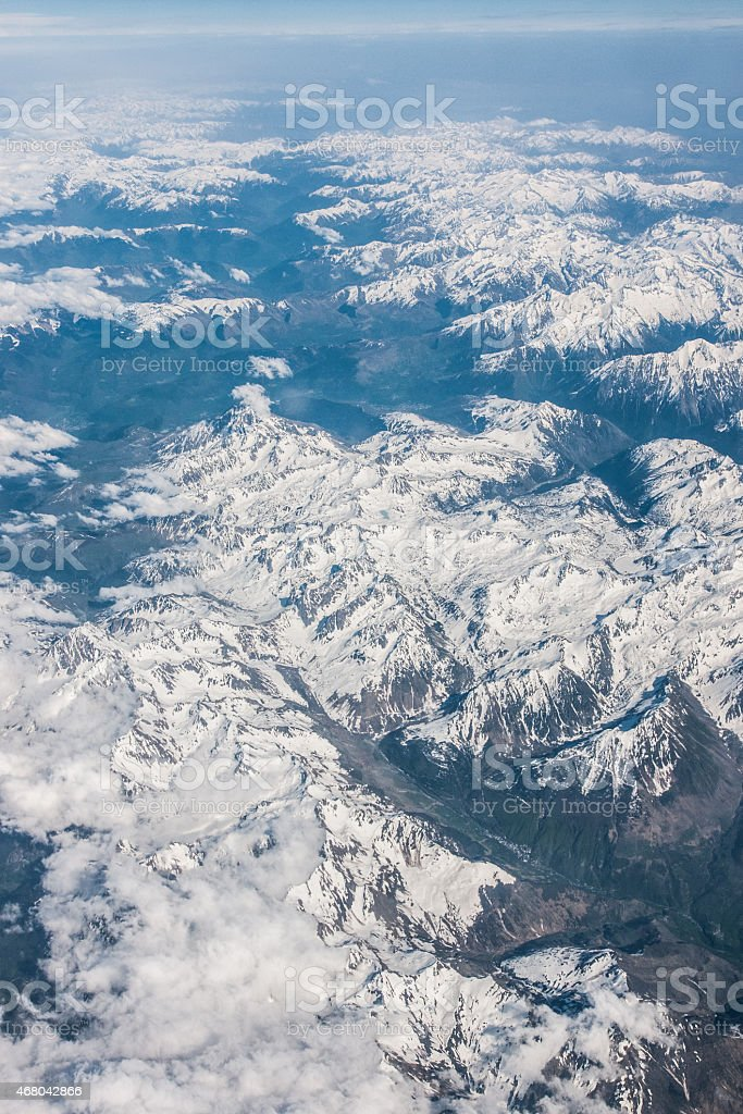 Snowy mountains seen from above royalty-free stock photo