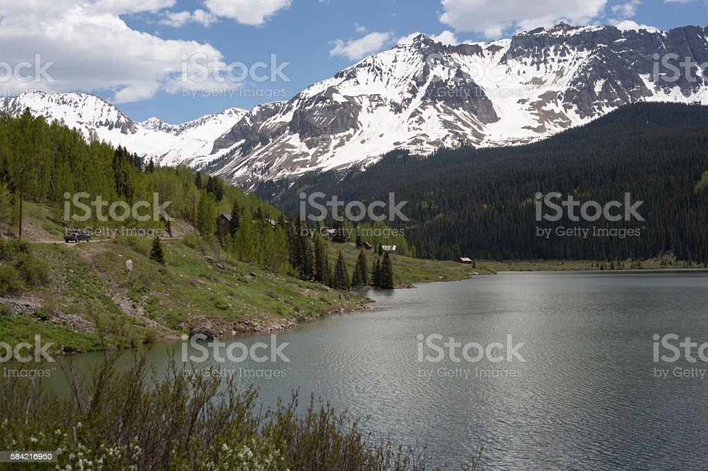 Snowy Mts at Trout Lake, Colorado stock photo