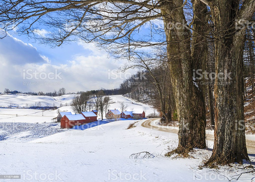snowy New England countryside in the winter stock photo