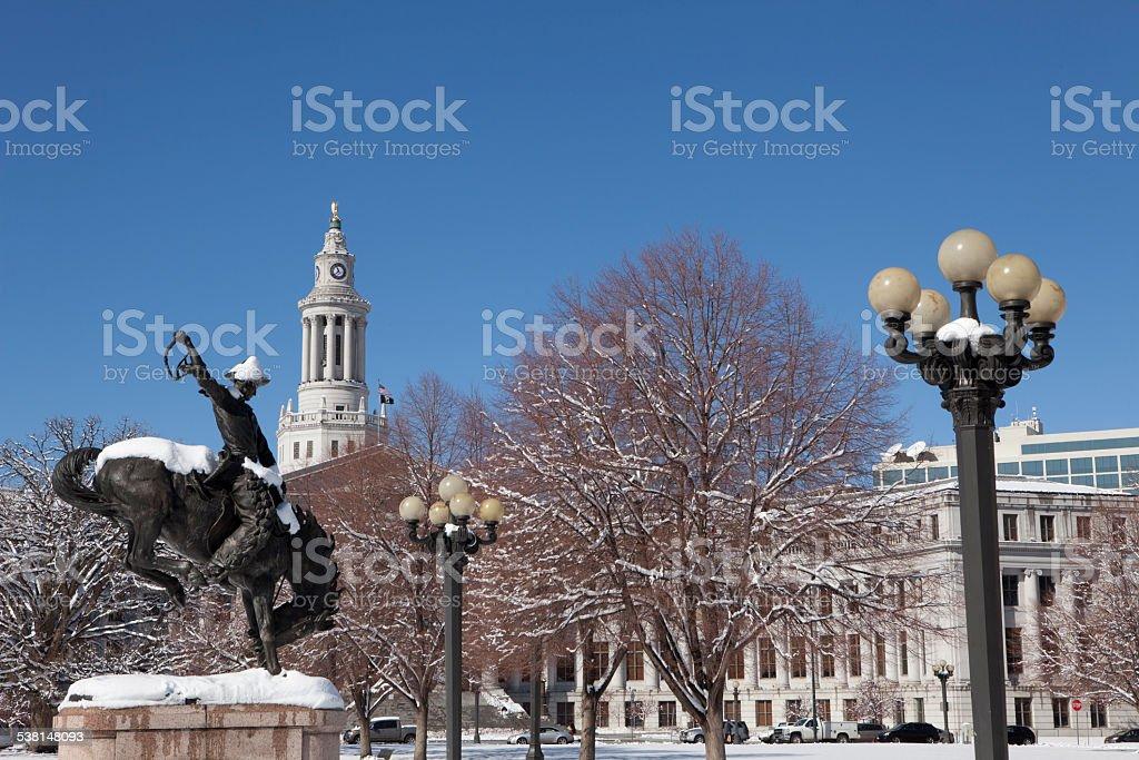 Snowy park and Denver County Building Colorado copy space stock photo