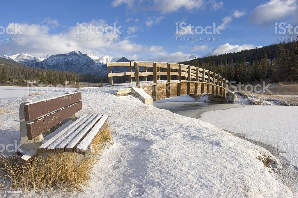 Snowy Park Bench royalty-free stock photo