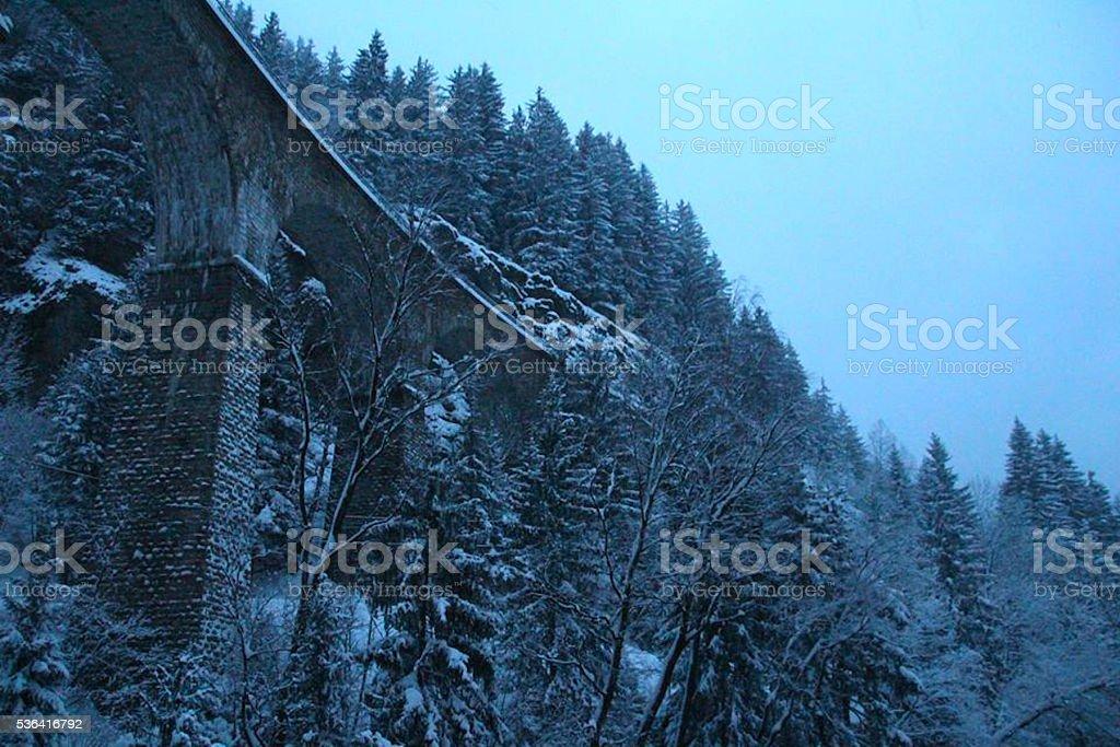 Snowy Peak at Dusk stock photo