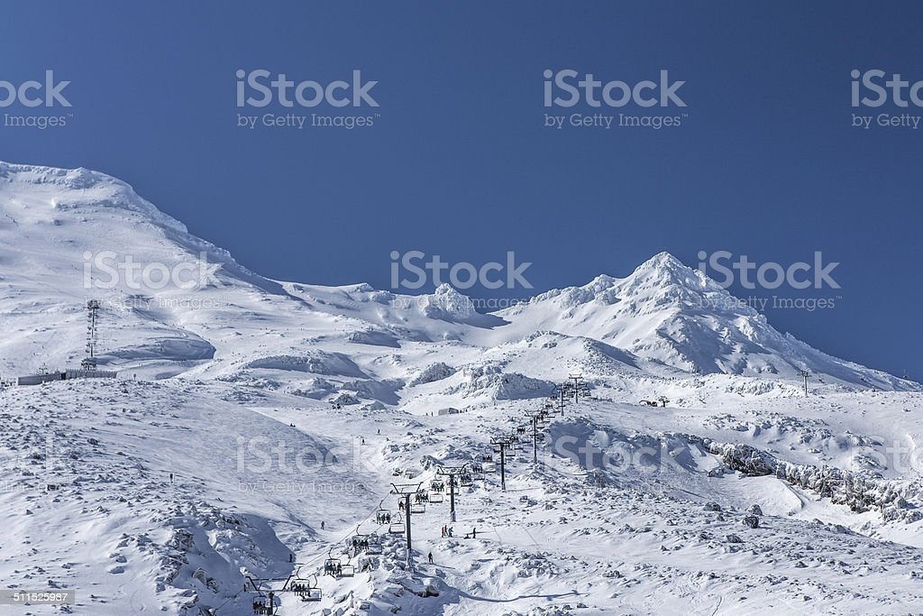 Snowy peak of Mount Ruapehu in winter stock photo