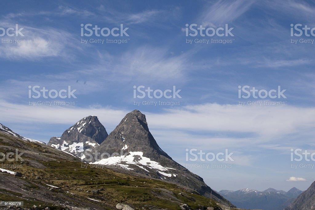 Snowy Peaks Near Molde stock photo