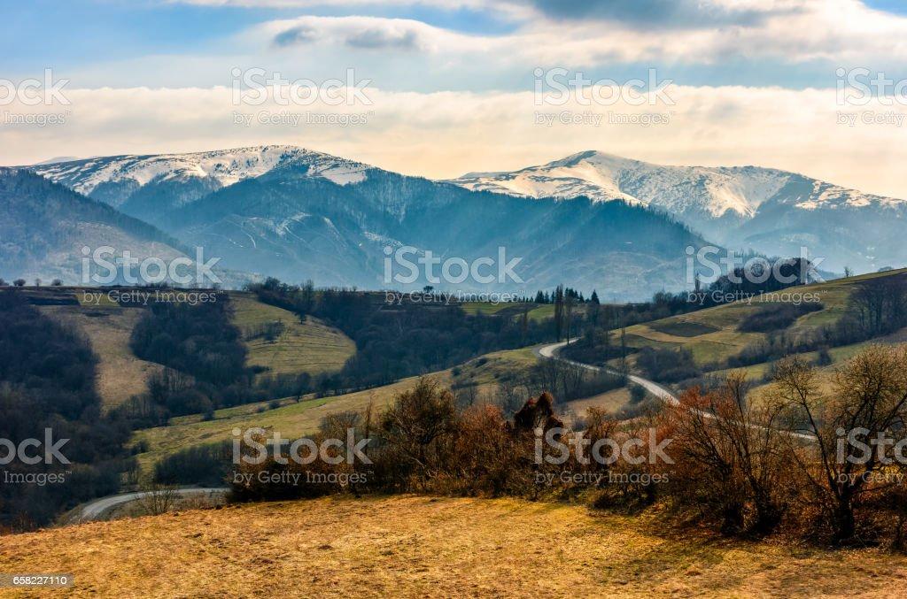snowy peaks of Carpathian mountain ridge stock photo