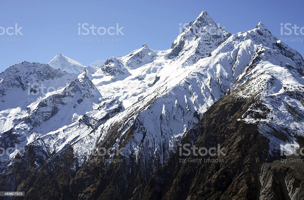 Snowy peaks of the Himalayas stock photo