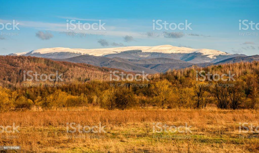 snowy peaks on the mountai top stock photo