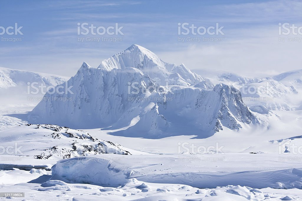 snowy peaks stock photo