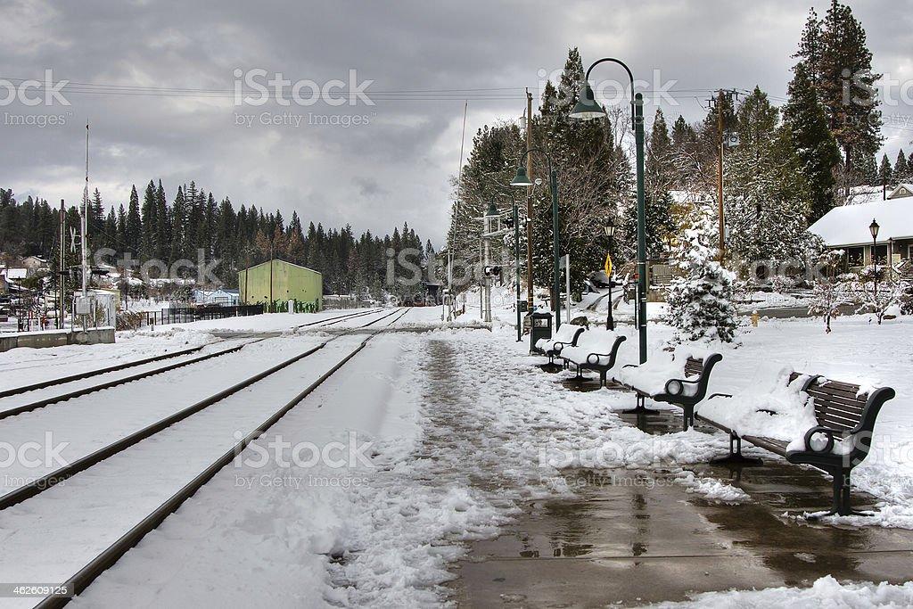 Snowy Rail Station royalty-free stock photo