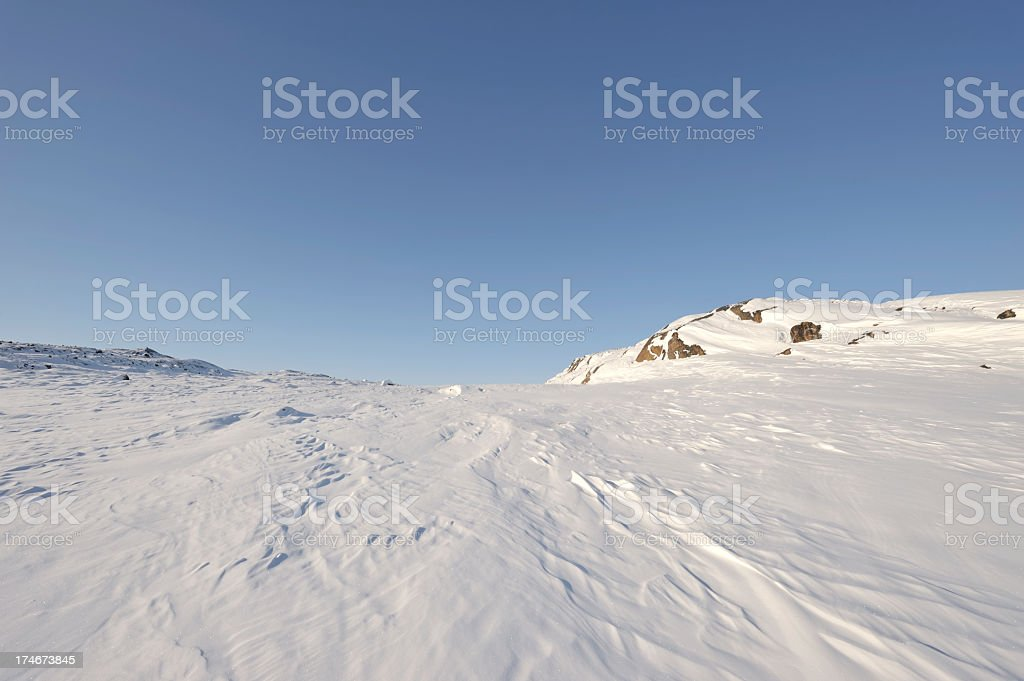 Snowy Ridge, Baffin Island, Nunavut. stock photo