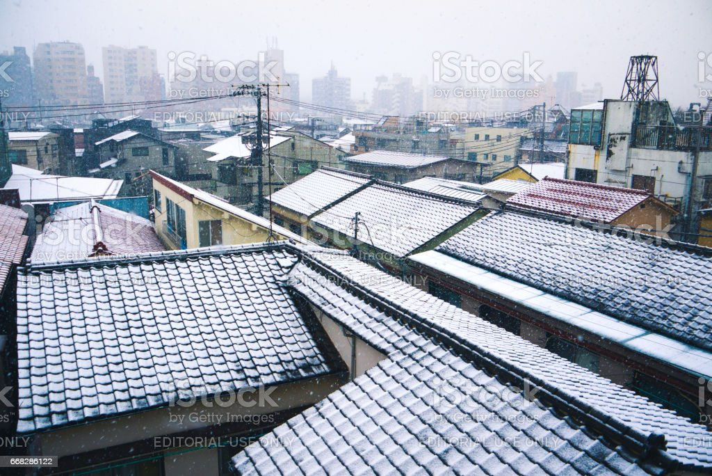 Snowy rooftops in Tokyo stock photo