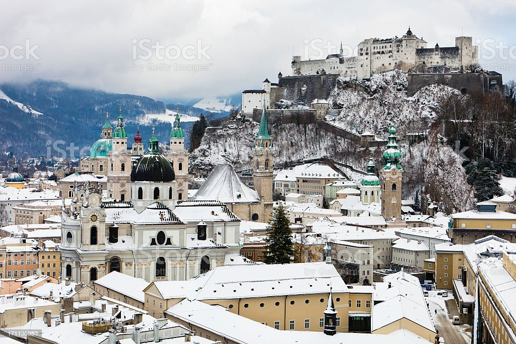 Snowy Salzburg stock photo