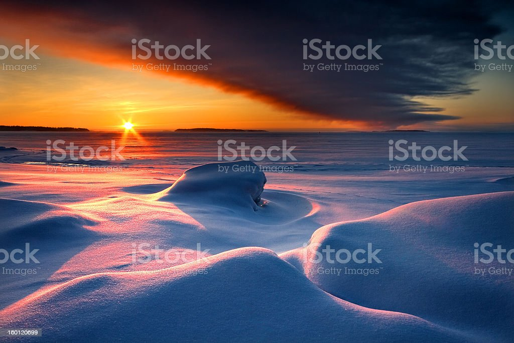Snowy seascape in early morning royalty-free stock photo