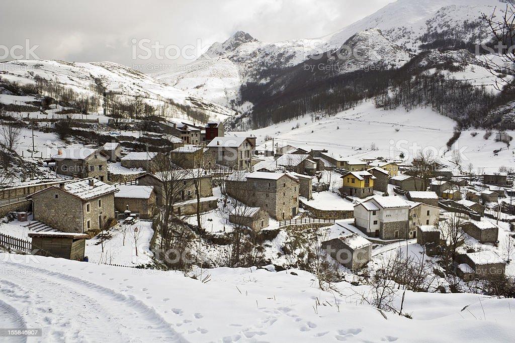 Snowy small village stock photo