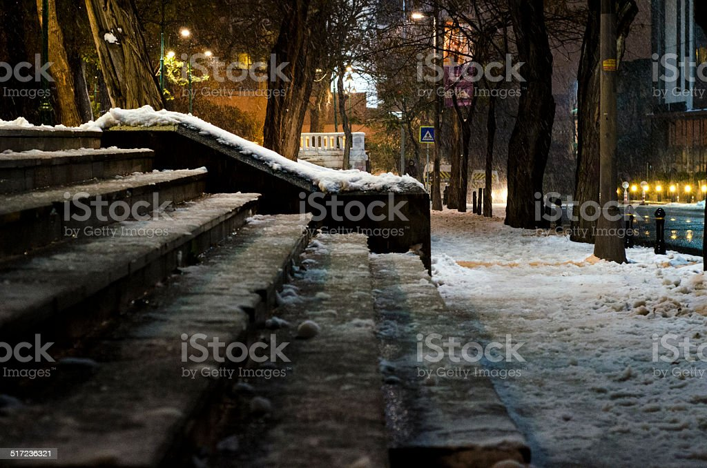 Snowy Staircase stock photo